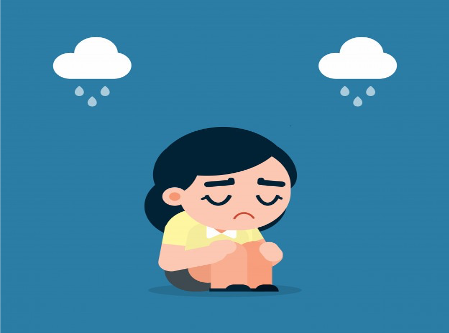 Girl sad crying lonely